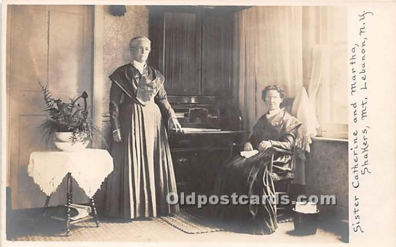 Old Vintage Shaker Post Card Sister Catherine and Martha, Shakers, Real Photo...