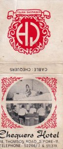 Chequers Hotel Thomson Road Singapore Advertising Matchbox Cover