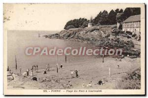 Postcard Ancient Pornic Beach Waves of Gourmalon
