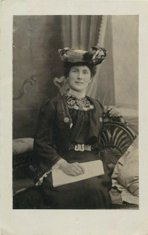 Women with fancy hats early photo postcards x 5