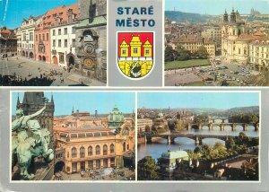 Postcard CZECH REPUBLIC multi view stare mesto sign Praha prague bridge statue