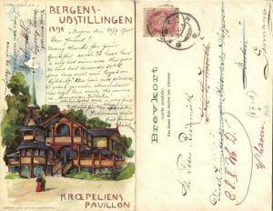 norway, BERGEN, Bergens Udstillingen 1898 Kroepeliens Pavillon, Carl Dotzler