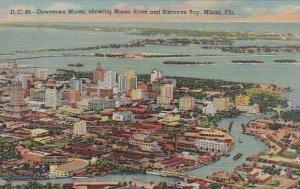 Florida Miami Downtown Miami Showing Miami River And Bisacayne Bay