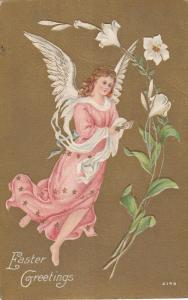 EASTER; Greetings, Angel flying, Lily Flowers, Gold Background, 00-10s