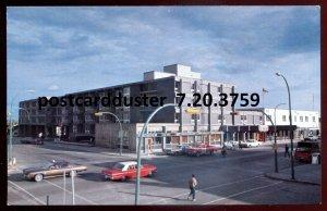 3759 - YELLOWKNIFE NWT Postcard 1960s Street View. Inn. Classic Cars
