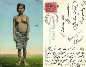 philippines, Luzon, Nueva Viscaya, Nude Infugao Woman (1910s) Postcard