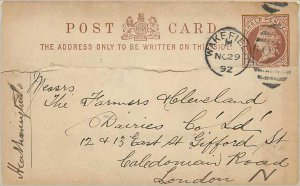 Entier Postal Stationery Postal Britain Great Britain 1 / 2p Wakefield for Lo...