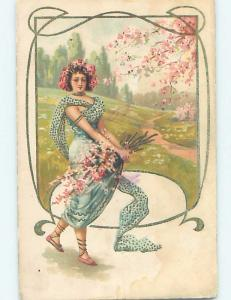 Pre-1907 foreign art nouveau PRETTY GIRL IN BLUE DRESS CARRYING FLOWERS HL7621