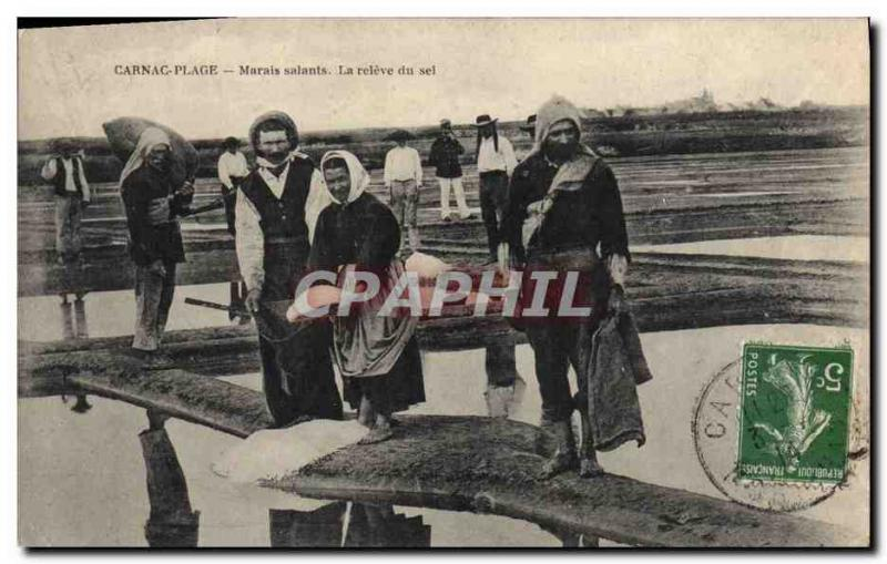 VINTAGE POSTCARD Carnac Beach saline Marsh It raised of salt