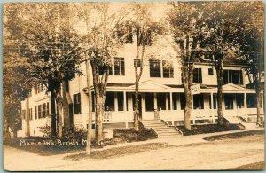 Vintage BETHEL, Maine RPPC Real Photo Postcard MAPLE INN Hotel c1910s Unused