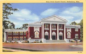 Main Street Baptist Church Hattiesburg Mississippi linen postcard