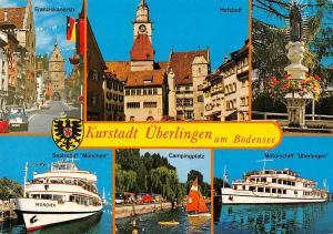 Ueberlingen am Bodensee, Campingplatz Motorschiff Hofstadt Brunnen Boat Statue