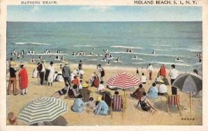 Midland Beach New York Bathing Scene Waterfront Antique Postcard K77564