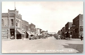Blue Earth MN~Main Street~Round Up Days~June Rodeo~Corner Drug Store~1940s RPPC