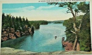 Vintage Postcard Up River from High Rock Dells of the Wisconsin River