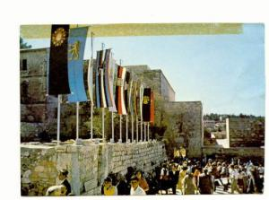 Crowds at Mount Sion, Many Flags, Jerusalem, Israel