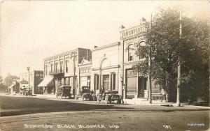 1919 Business Block Bloomer Wisconsin RPPC Real Photo CO-MO Chippewa 5930