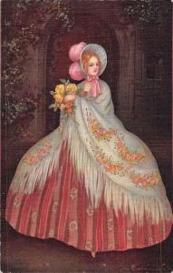 Big Giant Dress Lady Flowers, Colomban Signed, The Pastella Series Postcard