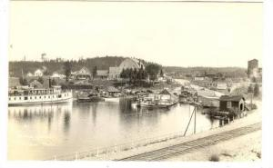 RP: Steamship in harbour, TEMAGAMI, Ontario, Canada, 1910s