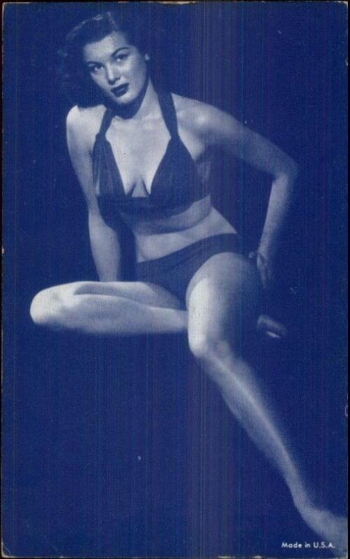 Sexy Burlesque Showgirl Semi-Nude 1920s-30s Arcade Exhibit Card Blue Tint #11