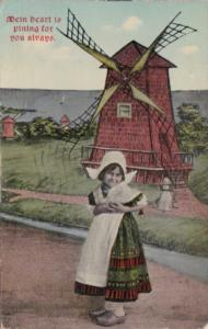 Humour Young Dutcg Girl & Windmill Mein Heart Is Pining For You Always 1913