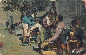 Outdoor Barber Shop Constantinople Turkey 1920s vtg. ethnic topic postcard