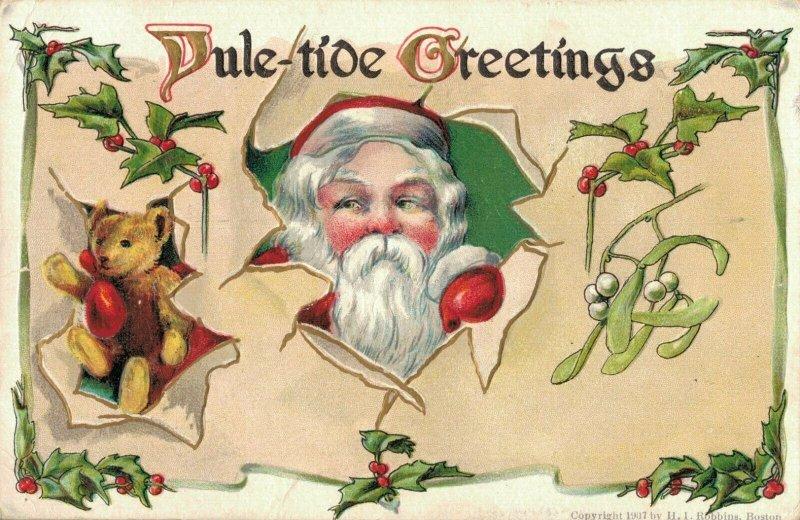 Yule Tide Greetings Santa Claus with Teddy Bear Embossed Postcard 03.75