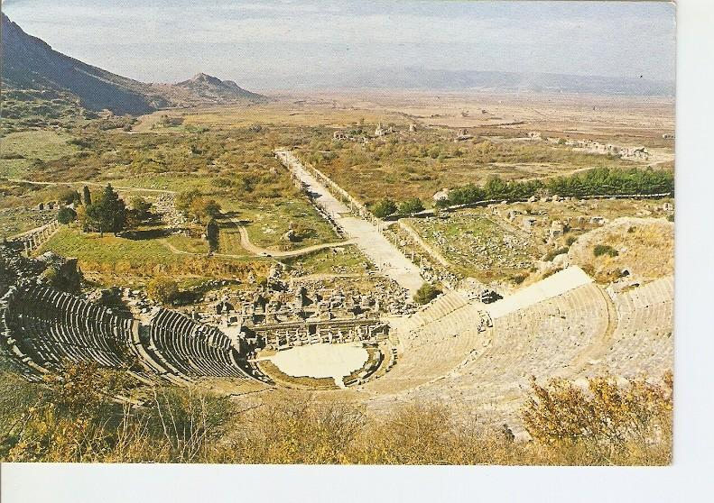 Postal 022594 : Efes - Turkey, Great Theatre and port street