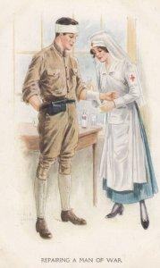 RED CROSS Nurse & Wounded soldier , 1910s