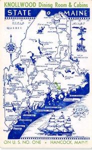 Maps Knollwood Dining Room and Cabins Hancock, Maine, USA Unused