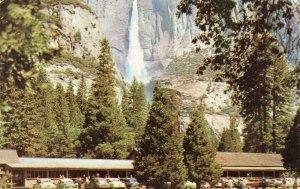 Postcard Yosemite Upper Fall and Lodge California