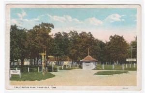 Chautauqua Park Tourist Camp Fairfield Iowa 1929 postcard