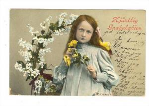 Girl standing in front of flower wreath, holding yellow roses, Hjartlig Gratu...