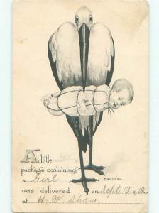 Pre-Linen STORK BIRD DELIVERS WRAPPED UP BABY AC1829