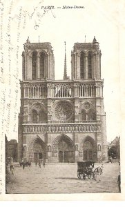Paris. Notre Dame. Horse cars Old vintqageFrench postcard