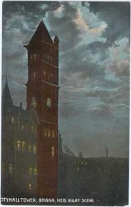 D/B City Hall Tower Omaha Nebraska NE Night Scene