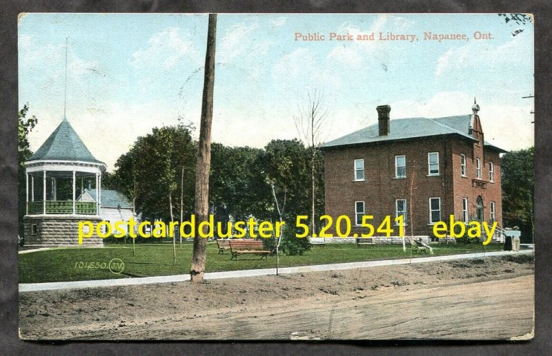 541 - NAPANEE Ontario 1908 Public Park and Library Postcard