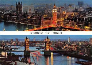 London by Night The Houses of Parliament Tower Bridge Thames Panorama