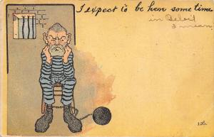 Comic Pun~I Expect to Be Here Some Time~Fellow in Jail~Stripes~Ball & Chain~1908
