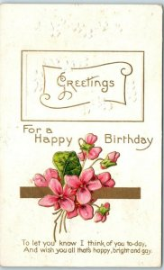 Vintage HAPPY BIRTHDAY Embossed Postcard Pink Flower Bouquet 1910 Cancel
