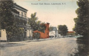 LPS29 Lakewood New York Toward Club House Hand Colored Postcard