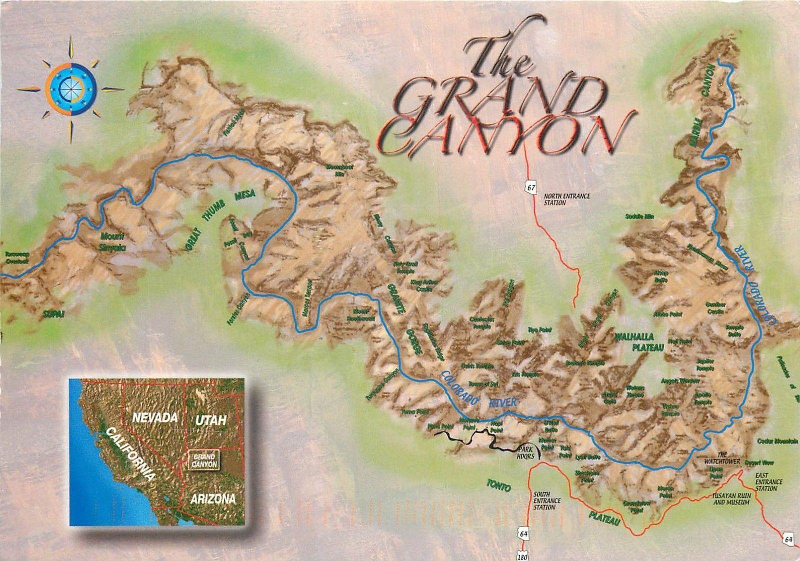 Map Of Colorado River In Arizona.The Grand Canyon Colorado River Map Postcard United States Arizona