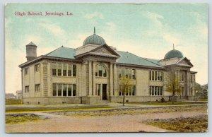 Jennings Louisiana~High School~Domes~Water Tower Behind~Dirt Road~c1910 Postcard