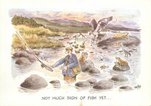 Comic fishing angler signed Besley