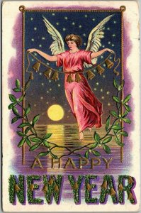1908 HAPPY NEW YEAR Large Letter Postcard Angel / Gold Bells / Walking on Water