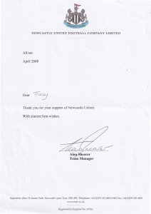 Alan Shearer Newcastle Football Club Manager Hand Signed Letter