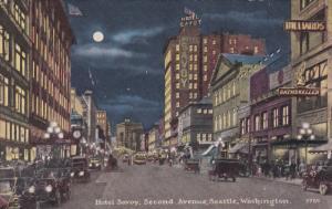 Hotel Savoy at night , Second avenue , SEATTLE , Washington , 00-10s