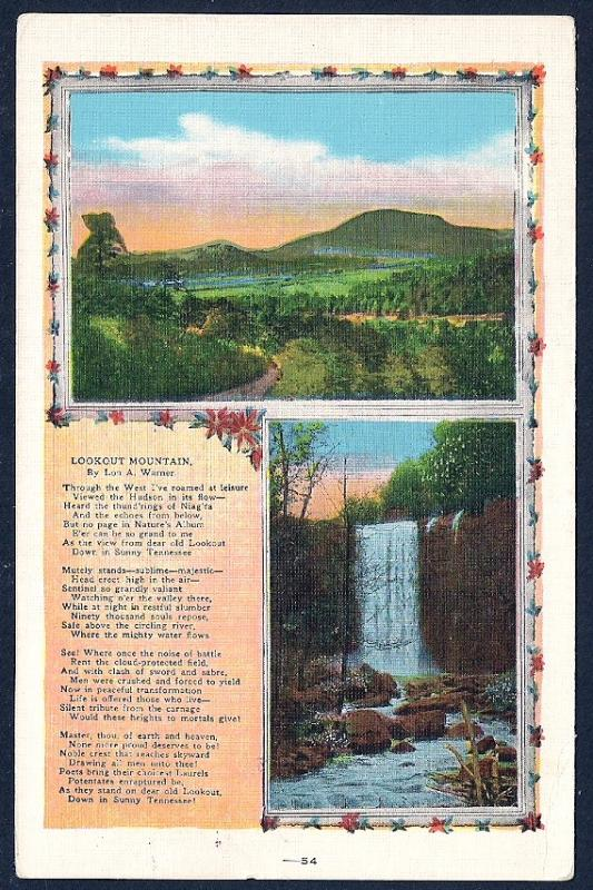 Lookout Mountain & Falls Warner Poetry Tennessee used c1934