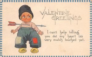 Bernhardt Wall Valentine~My Heart Is Touched~Boy With Arrow Thru Chest~1913 PC