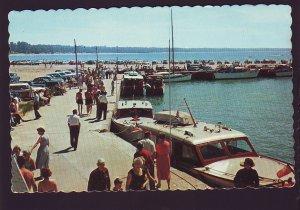 P1569 vintage unused boats cars people harbour scene port elgin ontario canada